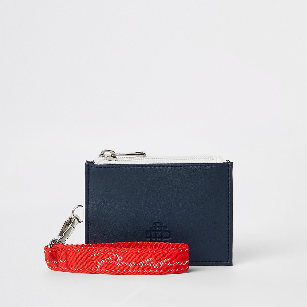 Navy colour blocked card holder