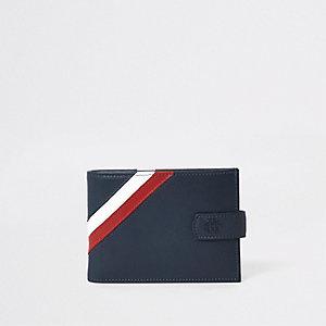 Marineblaue Geldbörse aus Leder