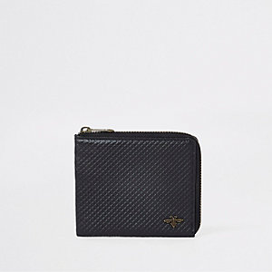 Black leather textured wasp zip pouch