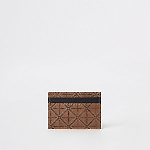 Tan leather printed card holder