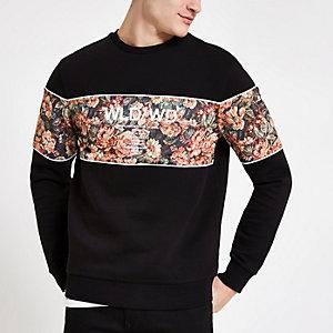 Zwart slim-fit sweatshirt met kleurvlak en bloemenprint