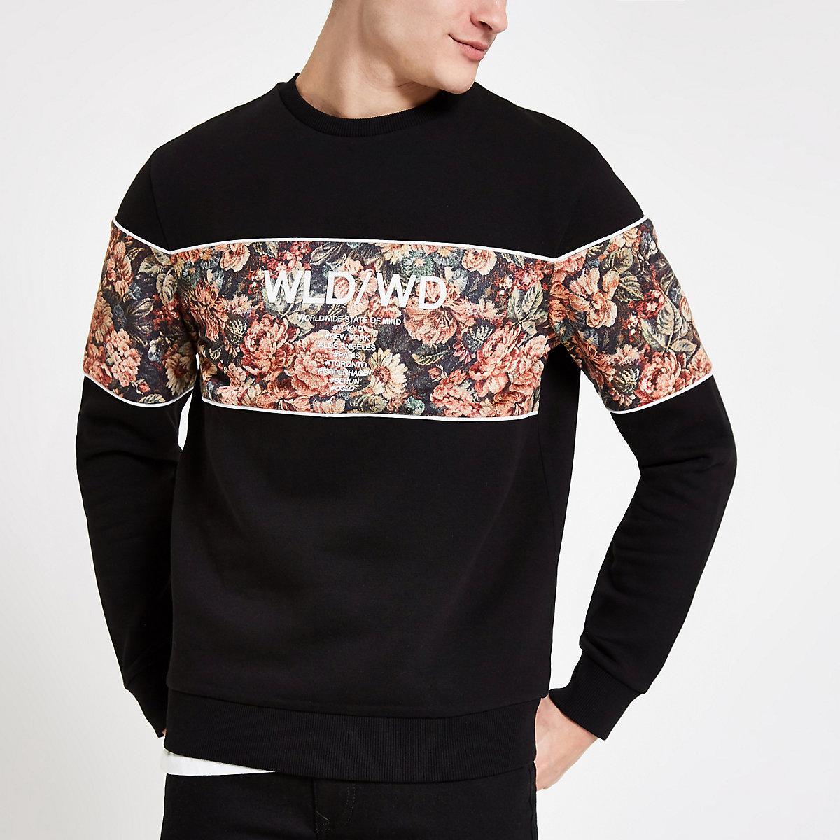 Black floral block slim fit sweatshirt