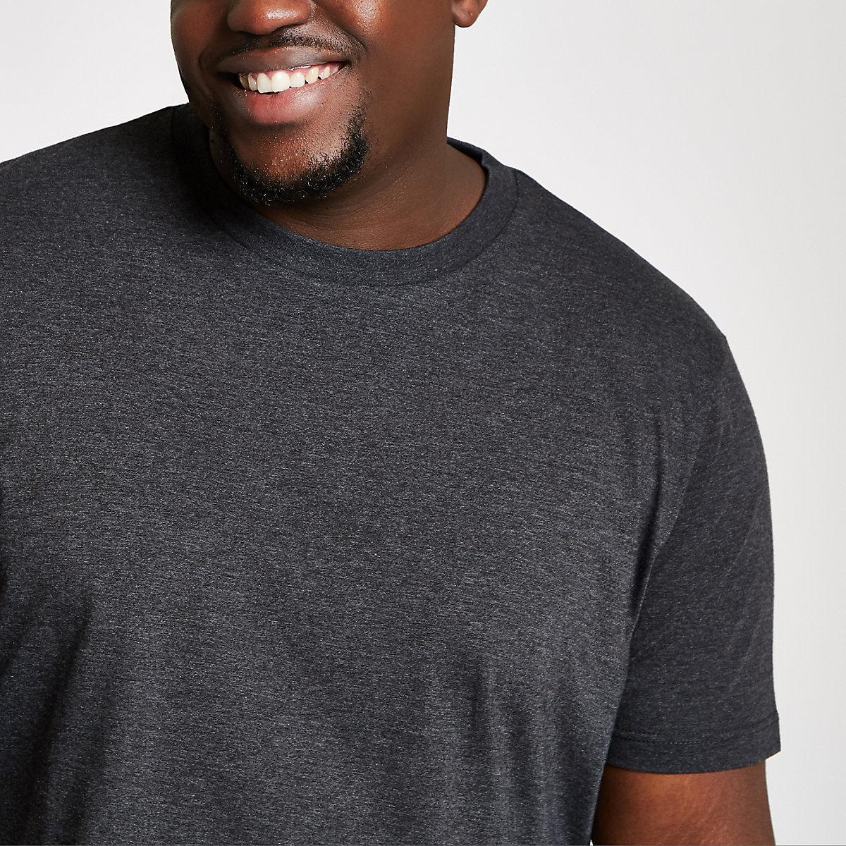Big & Tall – Dunkelgraues Slim Fit T-Shirt