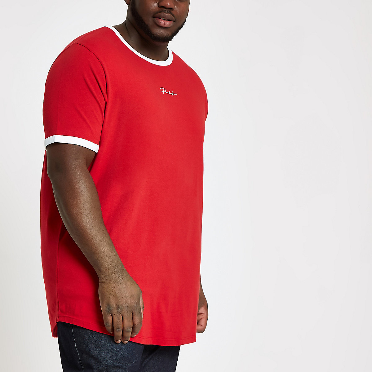 Big and Tall red 'Prolific' curve T-shirt