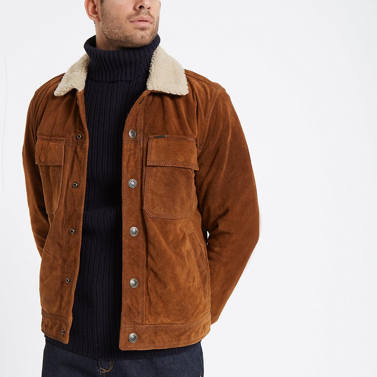 Superdry tan suede fleece collar jacket