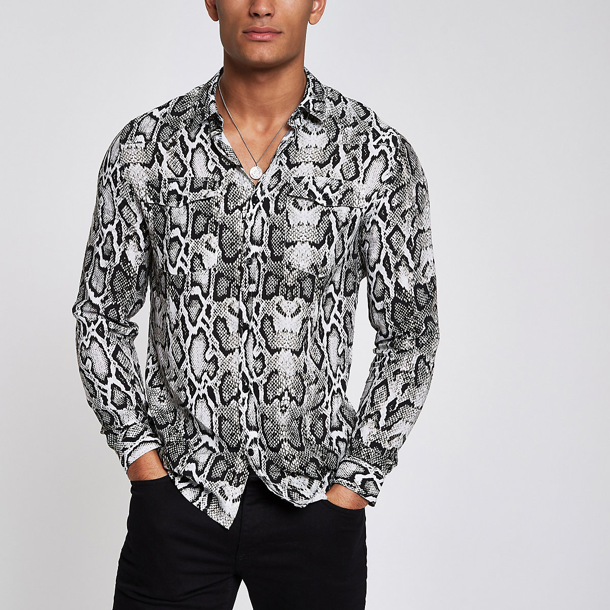 Grey snake print long sleeve western shirt