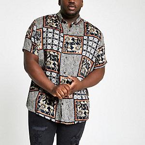 Big and Tall – Chemise à carreaux imprimé animal noire avec col à revers