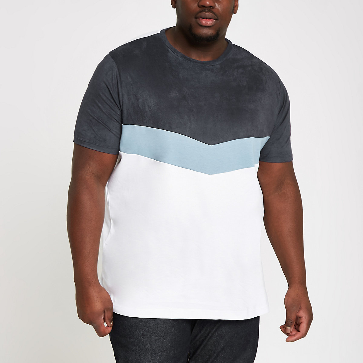 Big and Tall – T-shirt blanc à chevron colour block