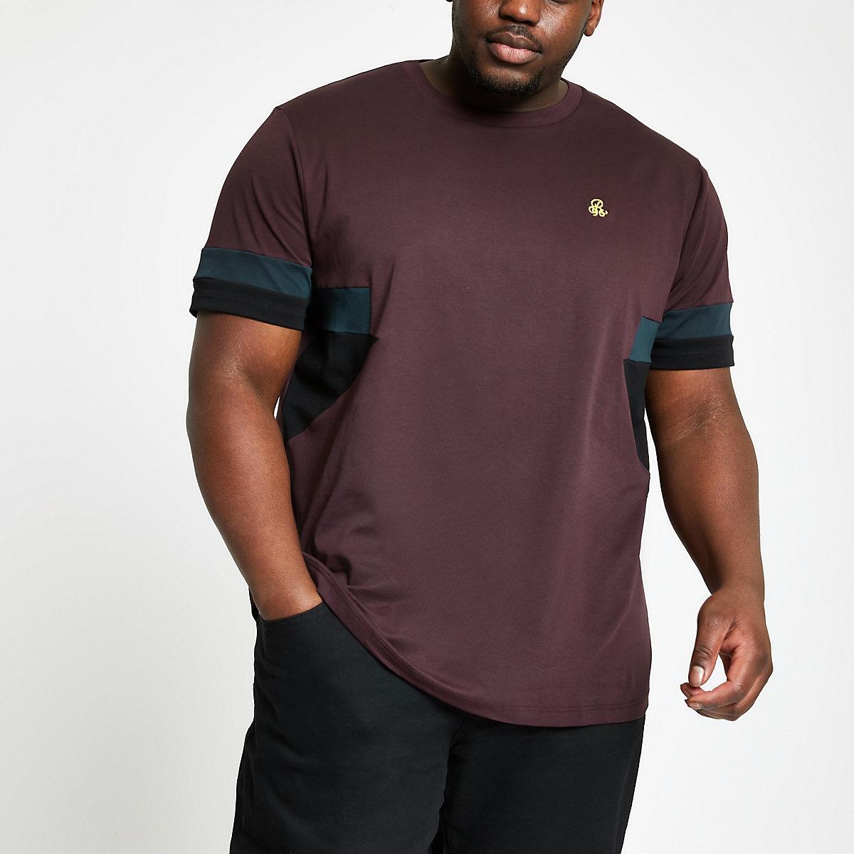Big and Tall – T-shirt colour block bordeaux à logo R96