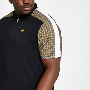 Big and Tall black tile print zip polo shirt