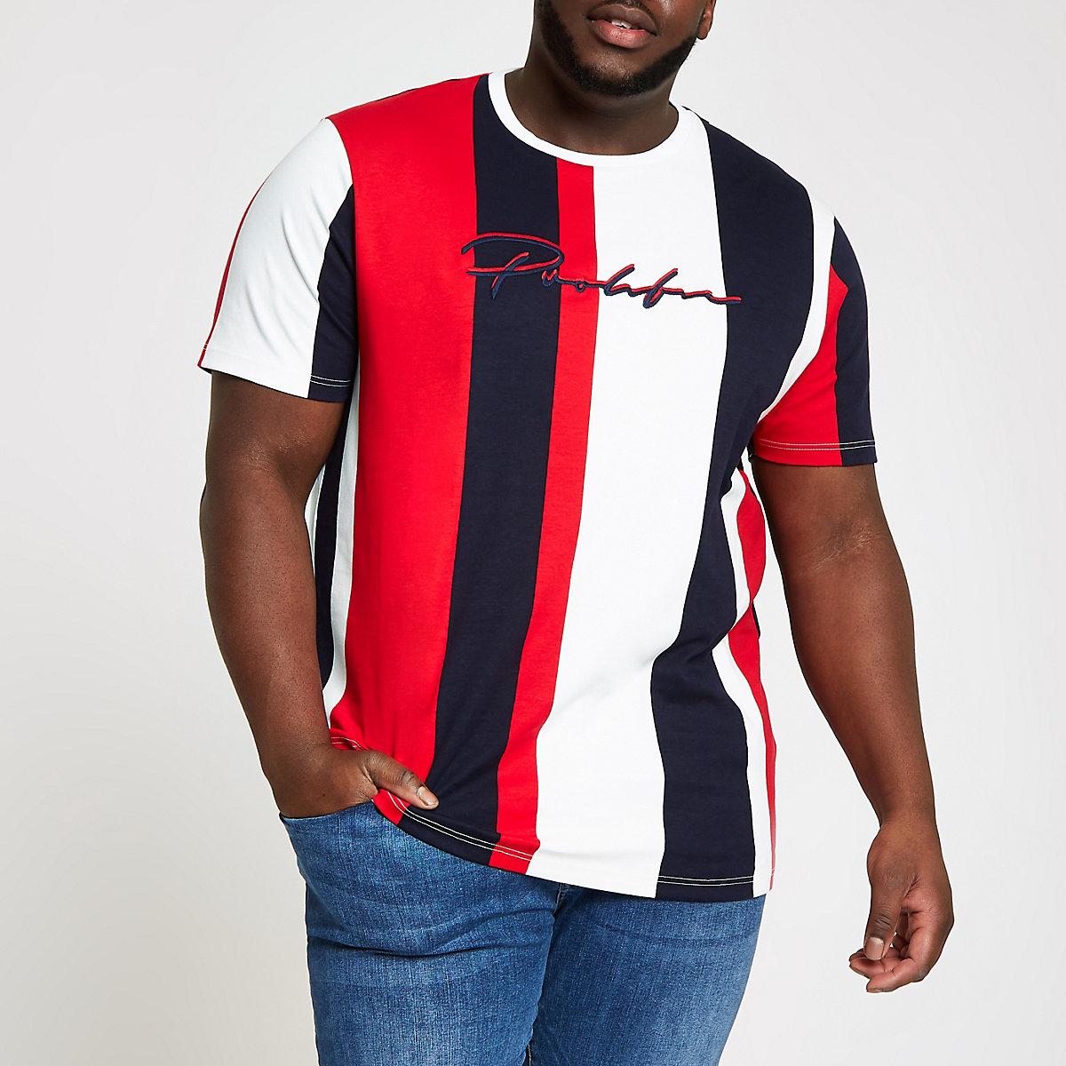 Big and Tall red 'Prolific' stripe T-shirt