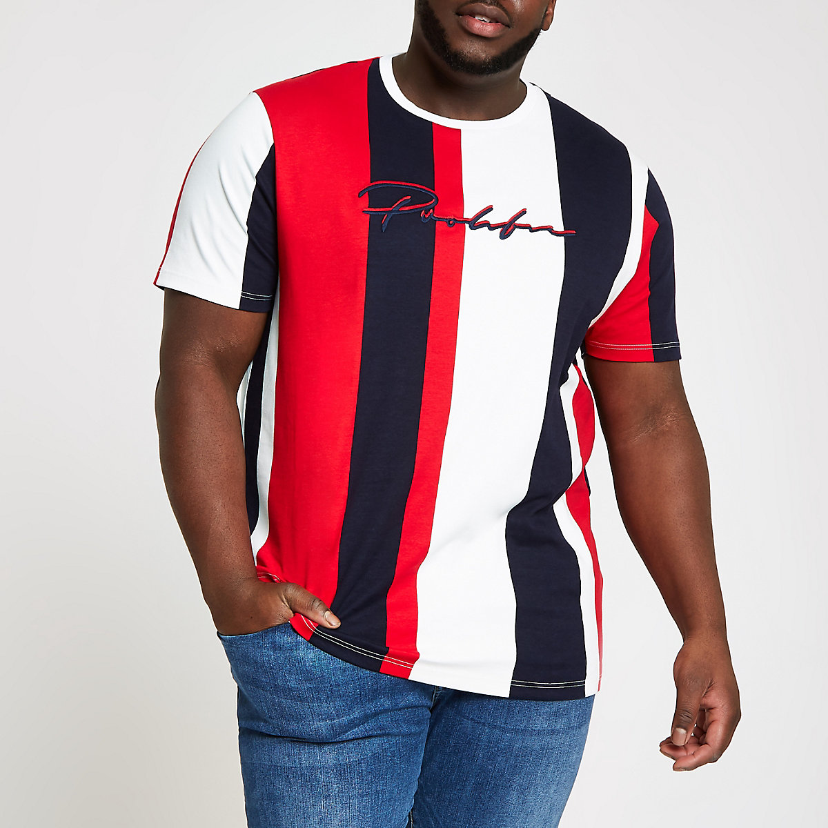 Big and Tall – T-shirt «Prolific» rayé rouge