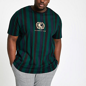 Big & Tall – Grünes, gestreiftes Slim Fit T-Shirt