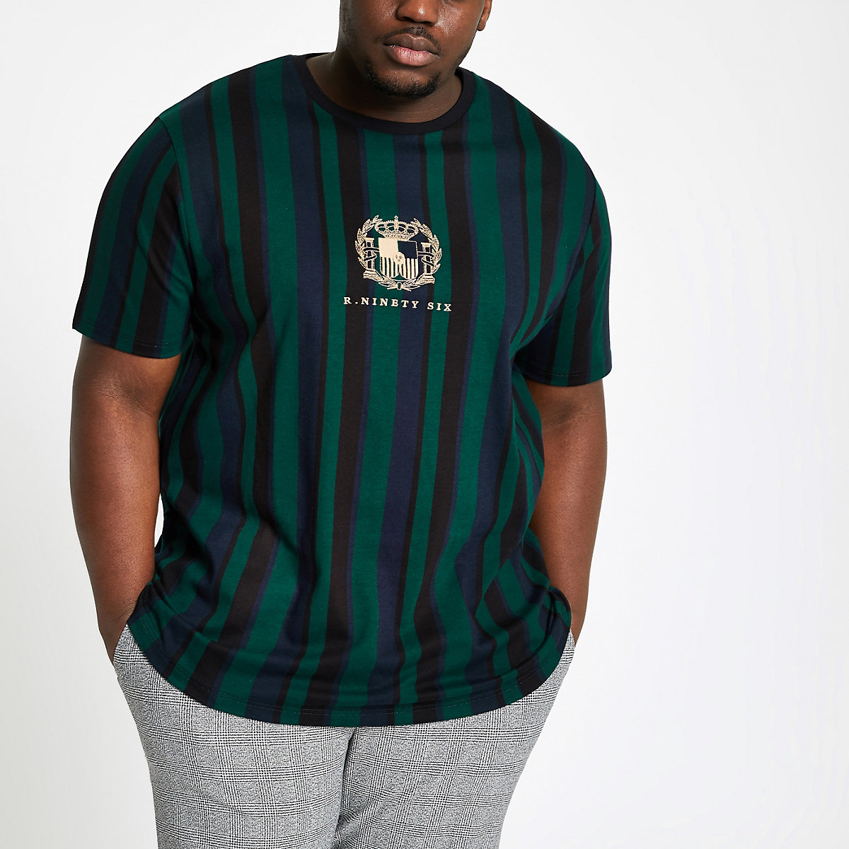Big and Tall green stripe slim fit T-shirt