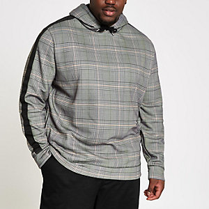 Big and Tall grey check slim fit hoodie
