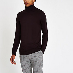 Dark red slim fit roll neck jumper
