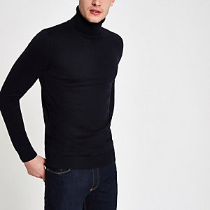 Navy knit slim fit roll neck jumper
