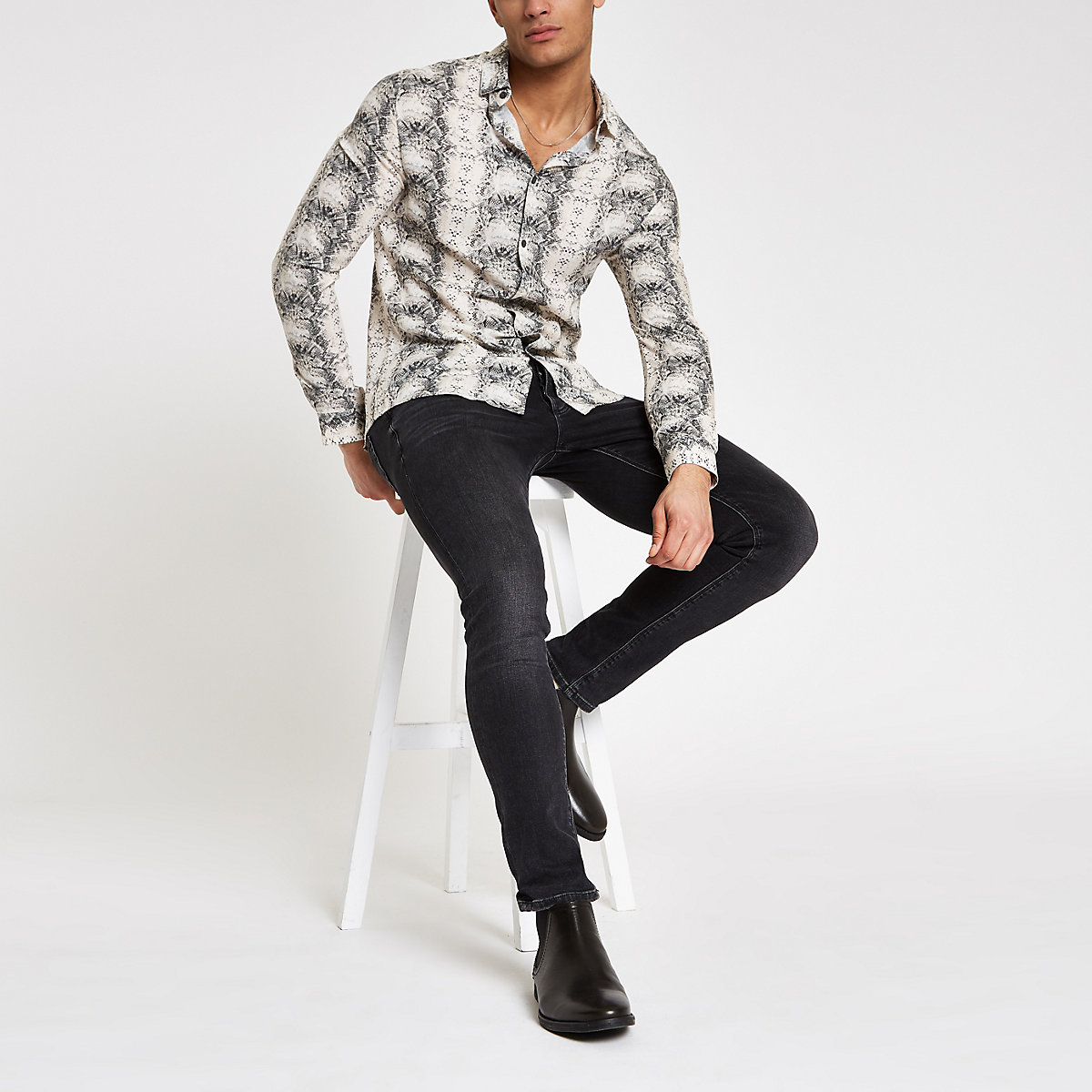 Ecru snake print long sleeve shirt