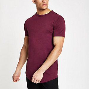 Red curved hem longline T-shirt