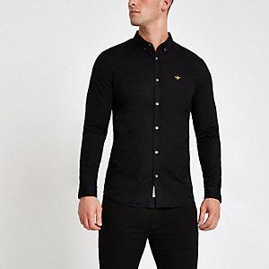 Zwart aansluitend geborduurd oxford overhemd