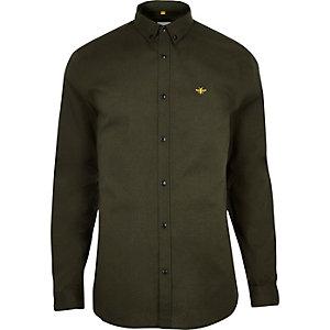 Kaki aansluitend geborduurd oxford overhemd