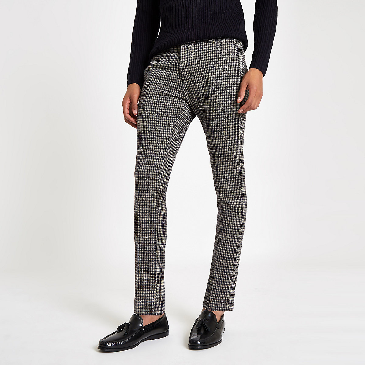 Navy check super skinny smart pants