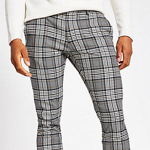 Grey plaid check super skinny smart pants