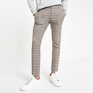 Pantalon habillé super skinny à carreaux marron