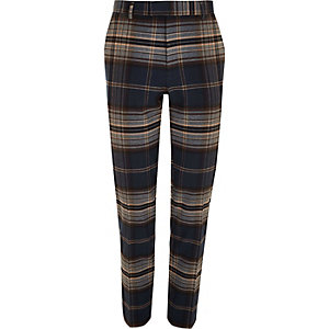 Big and Tall navy check smart trousers