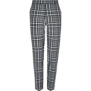 Big and Tall grey tartan smart trousers