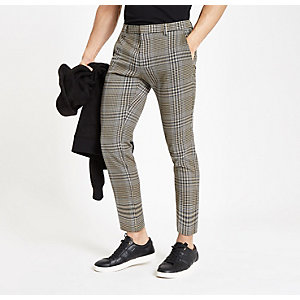 Brown check skinny fit crop smart pants