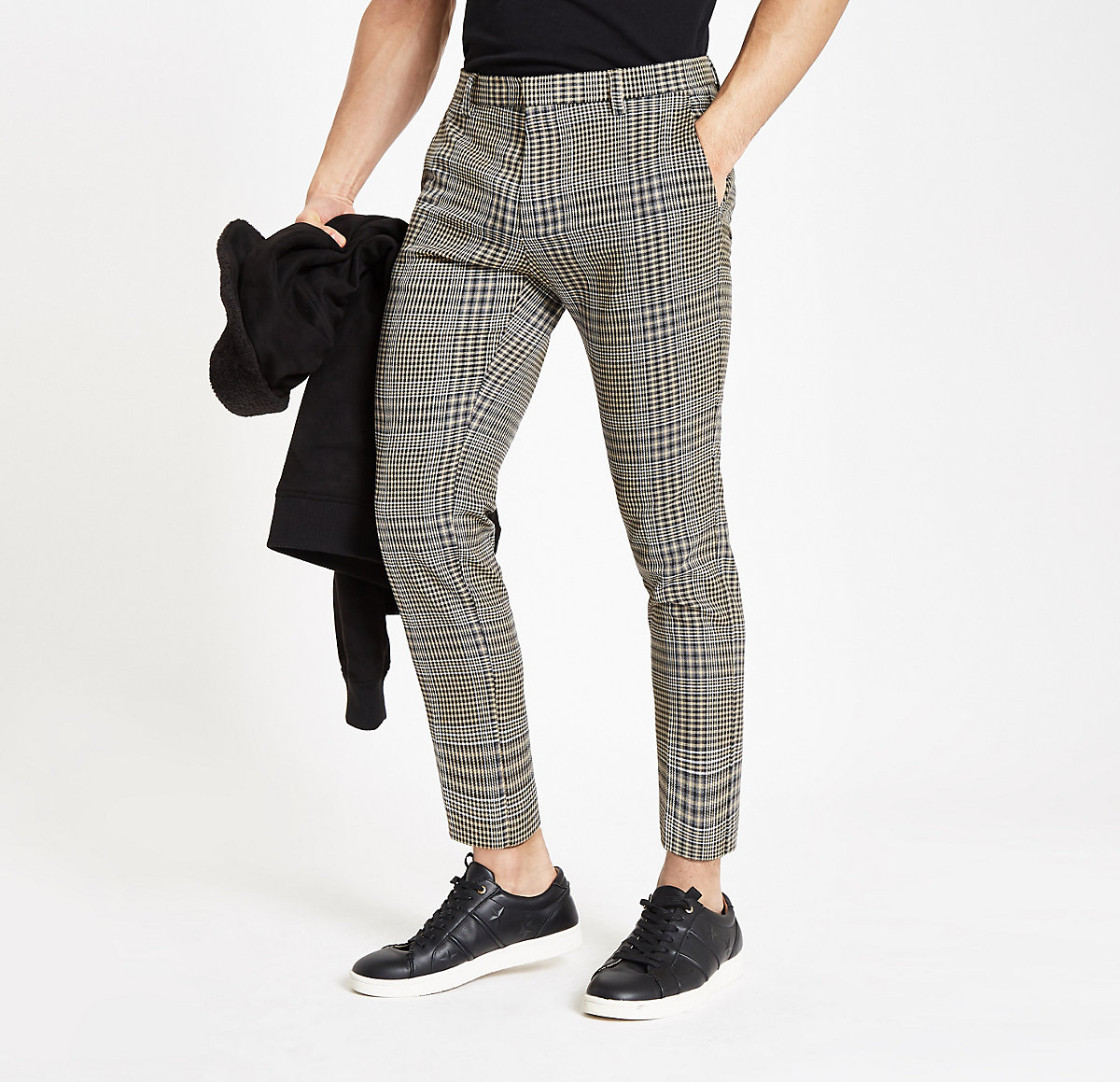 Brown check skinny fit crop smart pants