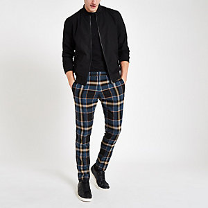 Blue plaid skinny smart pants