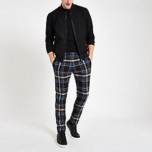Blauwe geruite skinny-fit nette broek