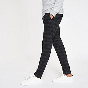 Marineblaue, elegante Skinny Fit Hose mit Karos
