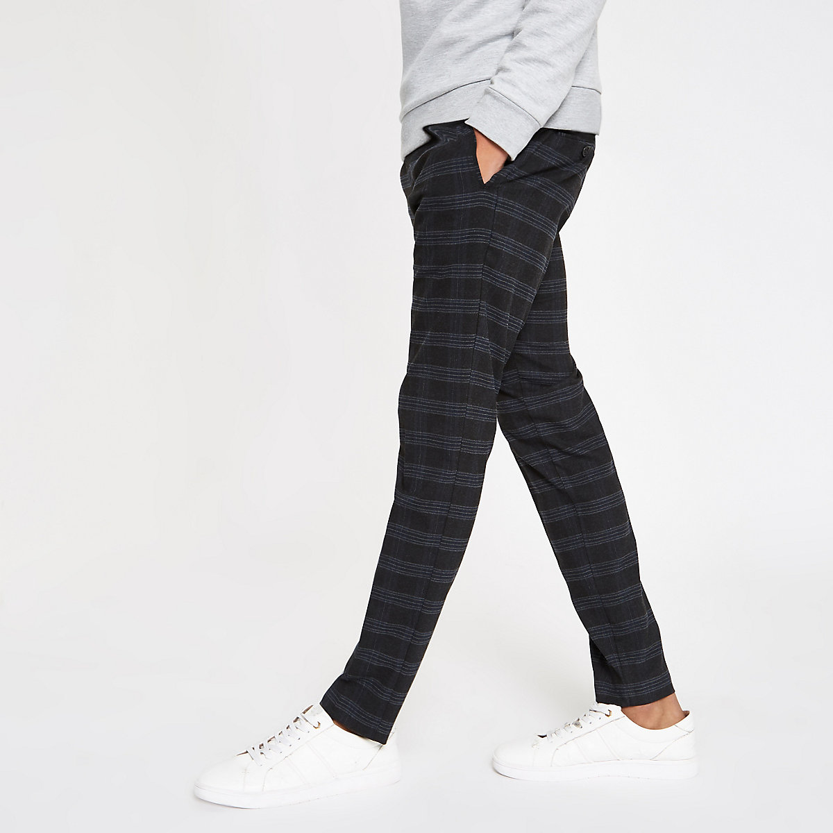 Navy check skinny fit smart pants