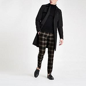 Black check skinny smart trousers