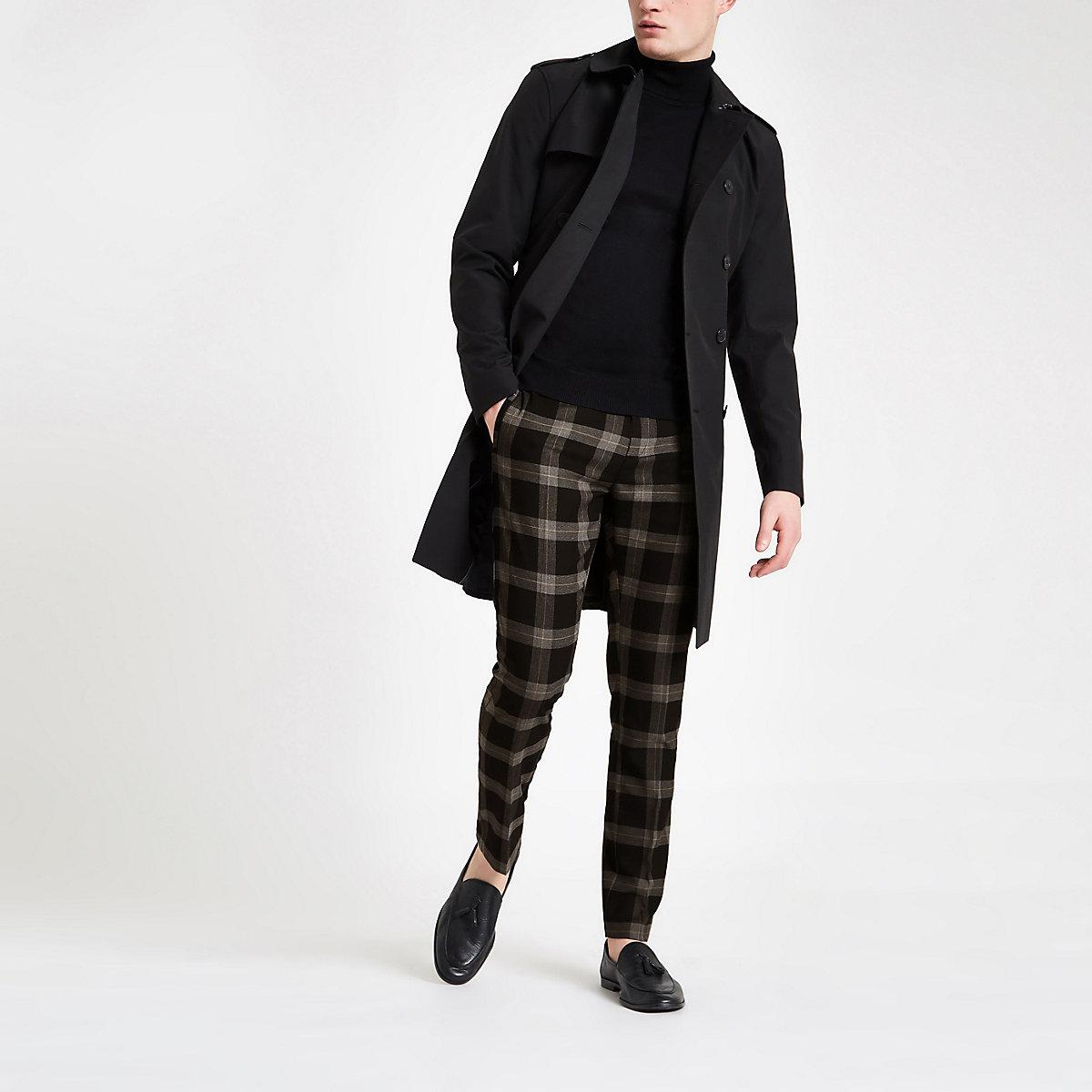 Black check skinny smart pants