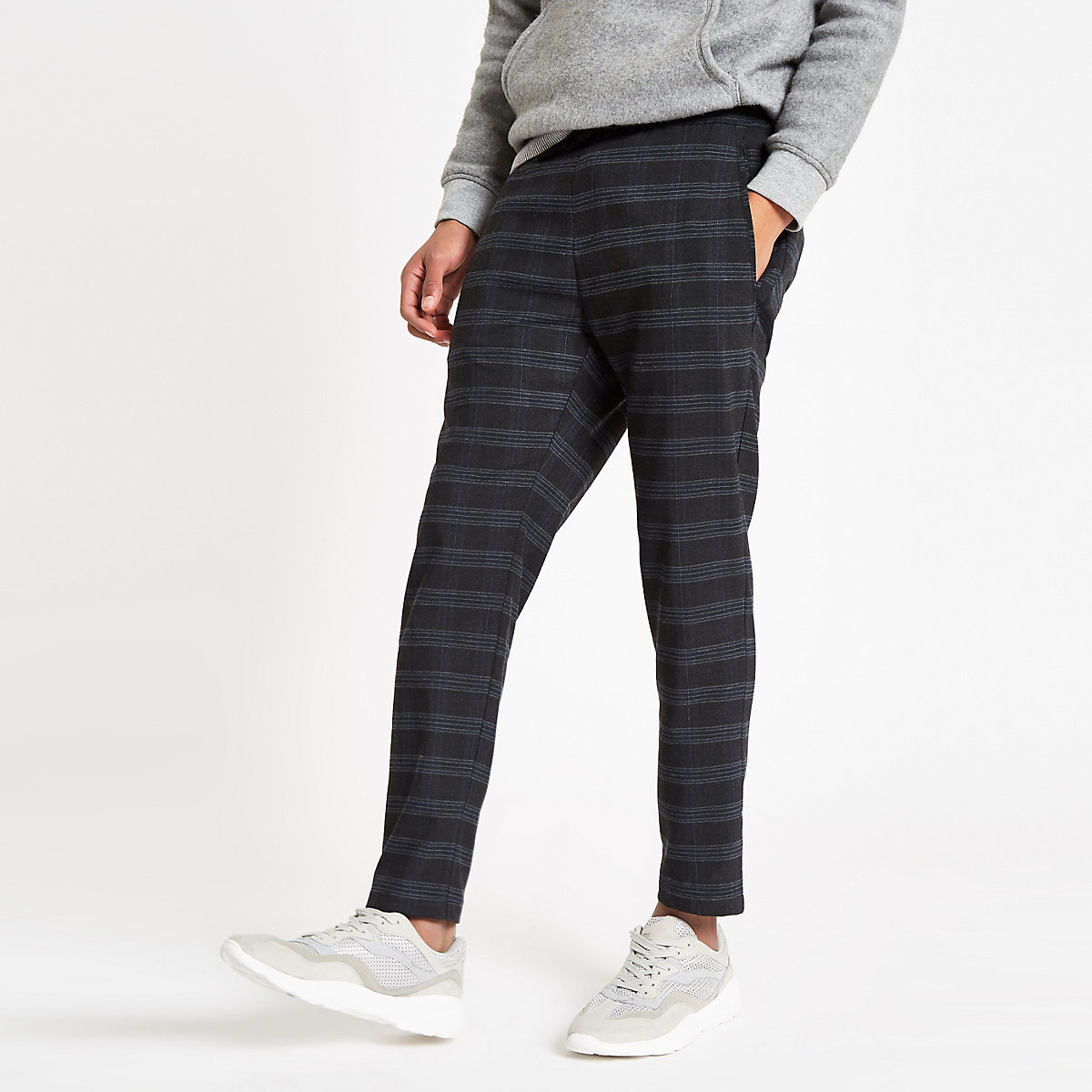 Navy check skinny fit jogger trousers