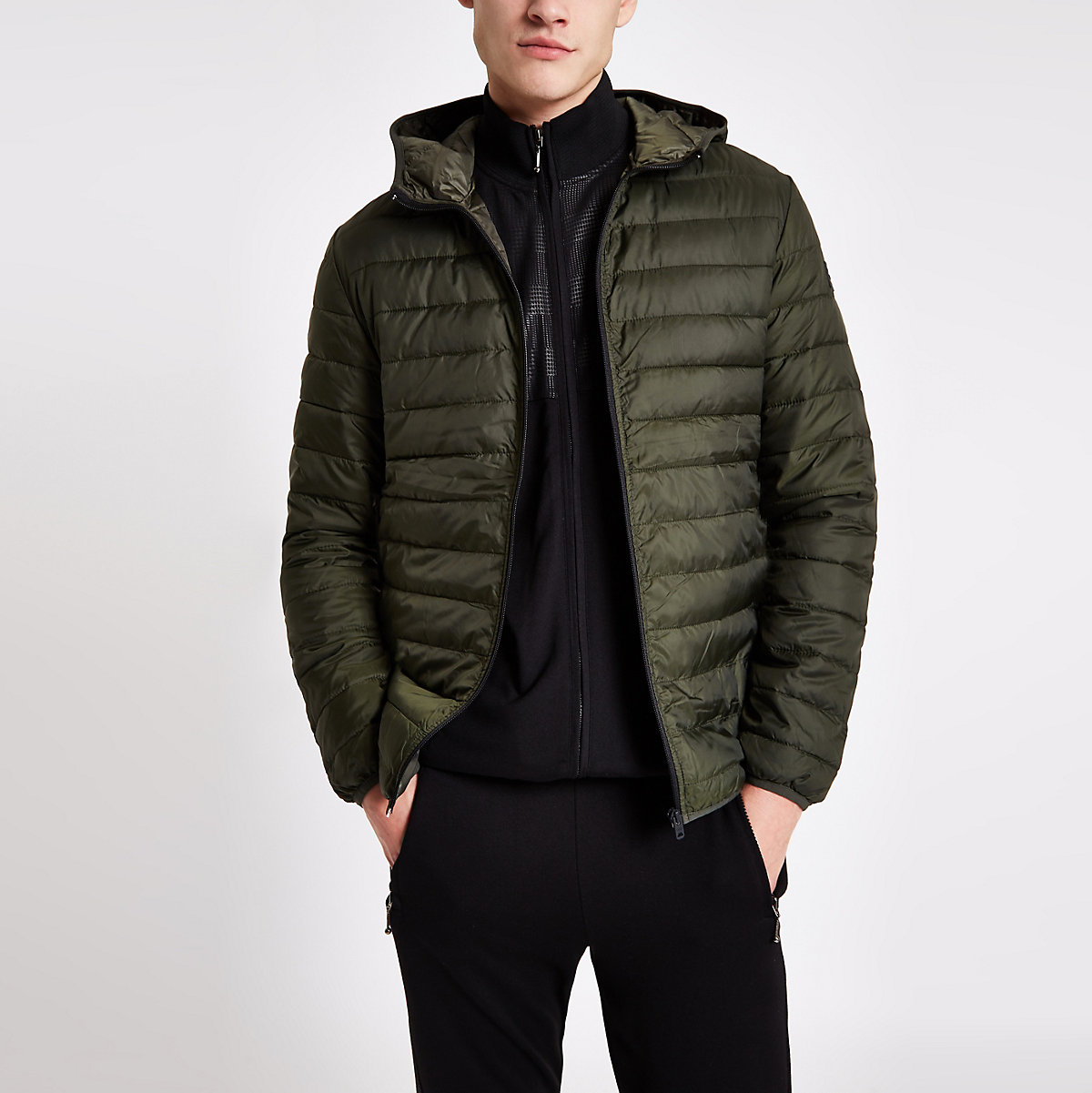 Jack & Jones dark green hooded puffer jacket