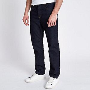 Dunkelblaue, gerade geschnittene Jeans