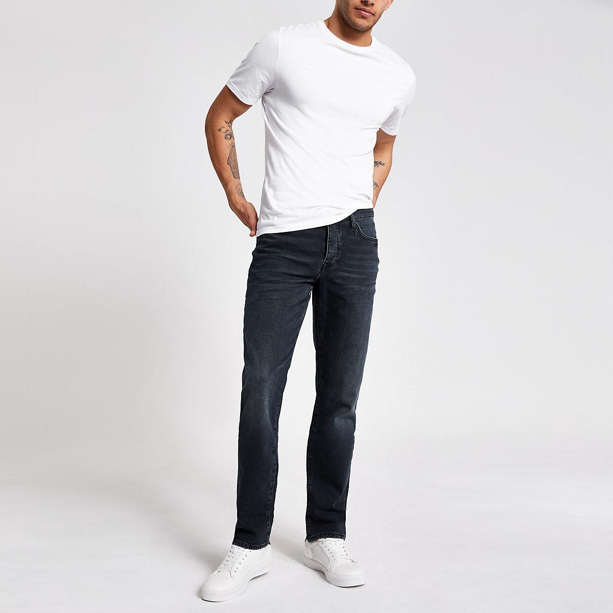 Dark blue distressed straight leg jeans