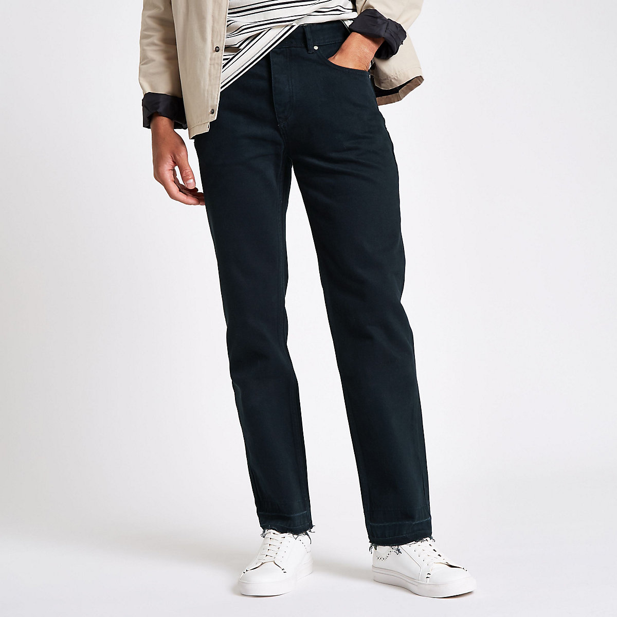 Dark blue raw hem straight leg jeans