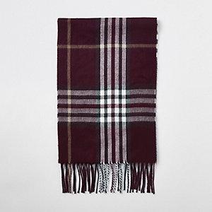 Burgundy check scarf