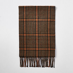 Brown heritage check scarf