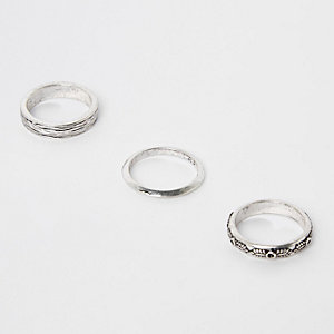 Silver tone textured ring multipack