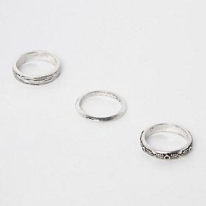 Set van 3 zilverkleurige ringen met textuur