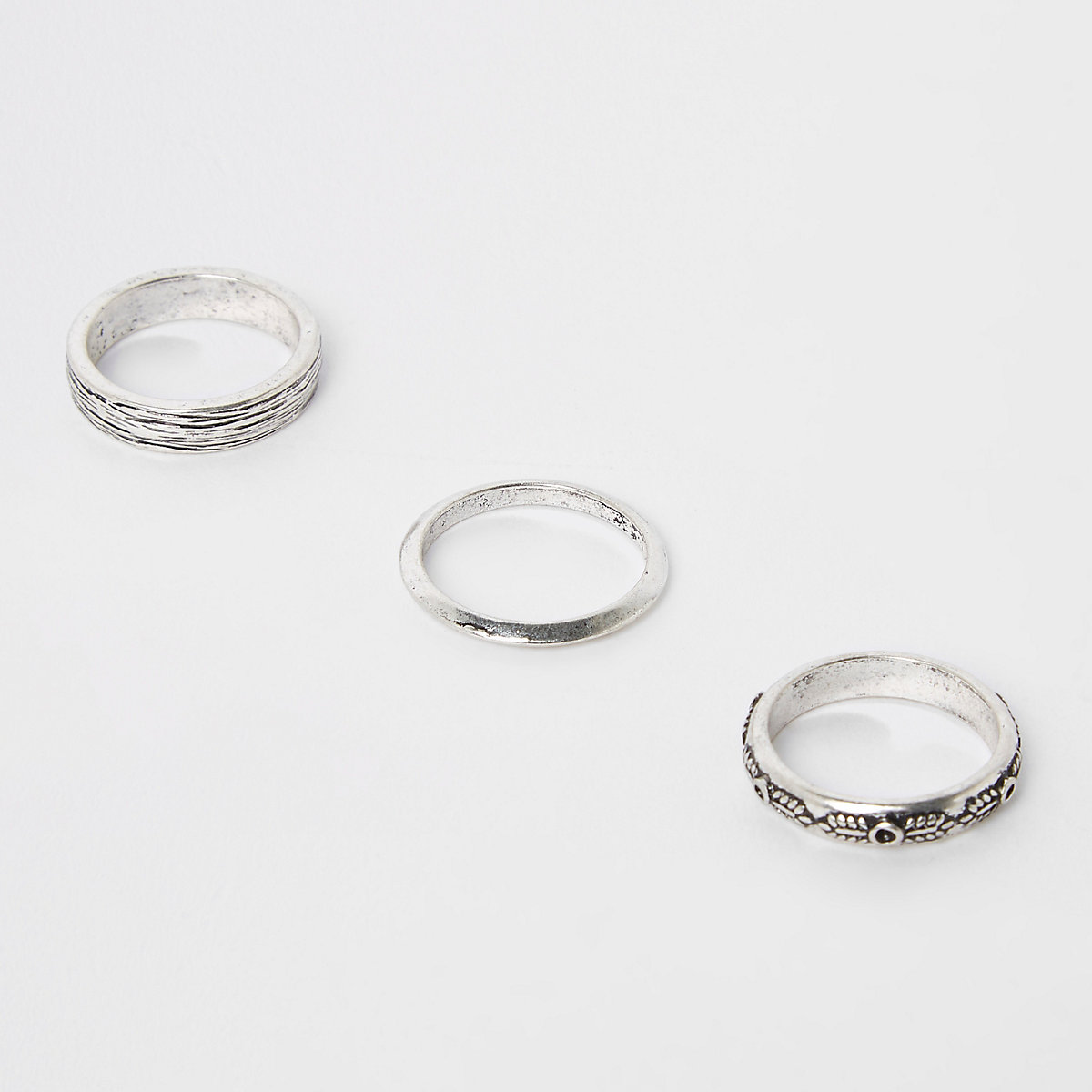 Silver tone textured ring 3 pack