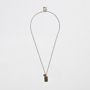 Gold tone dog tag necklace