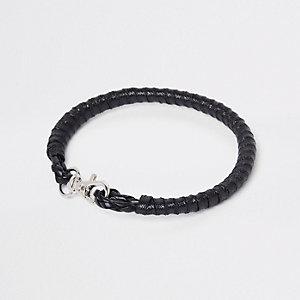Black leather wrist cuff bracelet